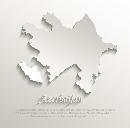 azerbaijani: Azerbaijan map card paper 3D
