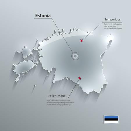 estonia: Estonia map glass card paper 3D Illustration