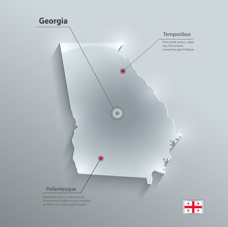 georgia flag: Georgia map glass card paper 3D