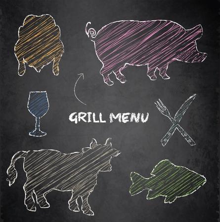 Grill menu pig, cow, fish and chicken on blackboard chalkboard