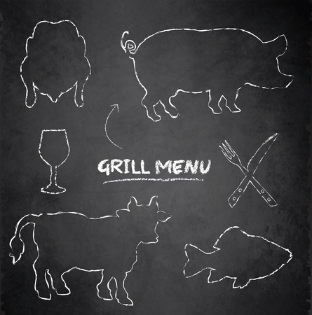 Grill menu of pig, cow, fish and chicken on blackboard chalkboard Vector