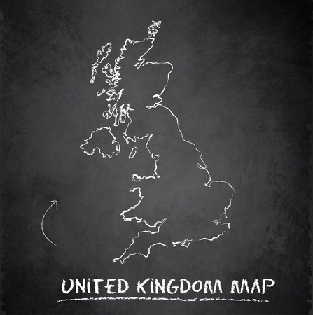United Kingdom map on blackboard chalkboard Vector