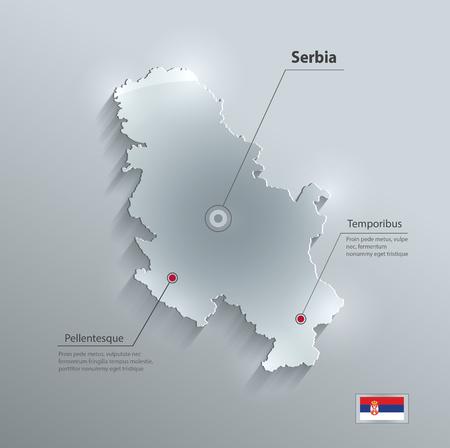 Serbia Arabia map glass card paper 3D vector Vektorové ilustrace