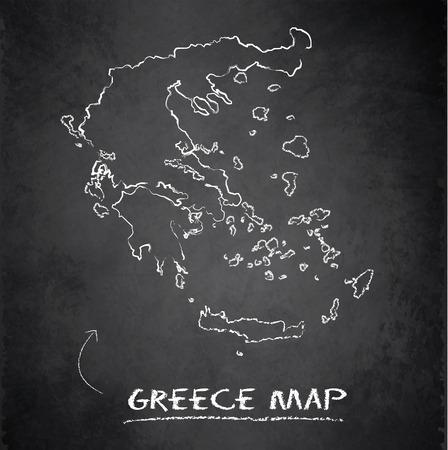 grecian: Greece map blackboard chalkboard vector