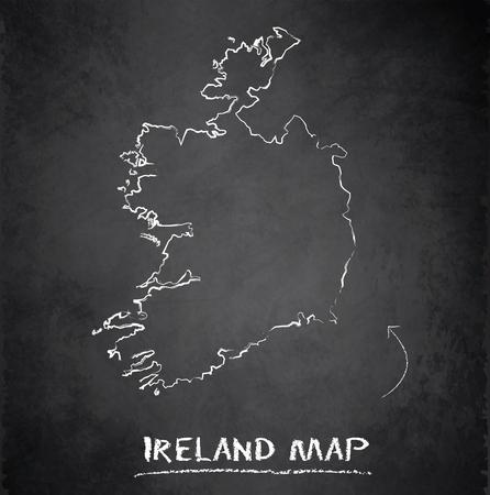 ireland map: Ireland map blackboard chalkboard vector