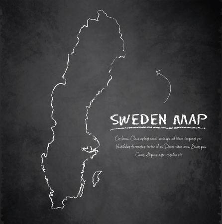 map of sweden: Sweden map blackboard chalkboard vector