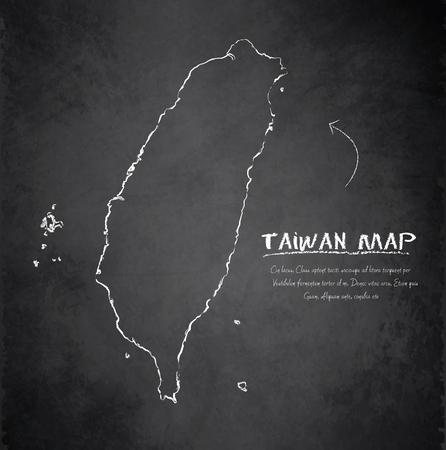 island state: Taiwan map blackboard chalkboard vector