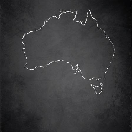 Australia map blackboard chalkboard raster photo