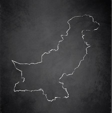 pakistan: Pakistan map blackboard chalkboard raster