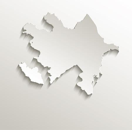 azerbaijan: Azerbaijan map card paper 3D natural raster