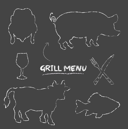 Grill menu pig cow fish chicken blackboard chalkboard raster photo