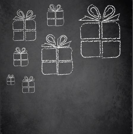 Christmas gift blackboard chalkboard raster  photo