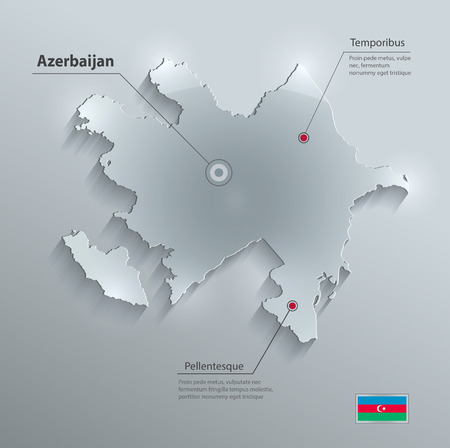 azerbaijan: Azerbaijan map flag glass card paper 3D