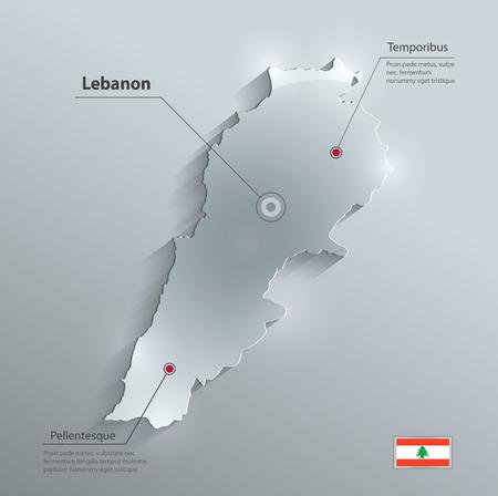 Lebanon map glass card paper 3D Vector