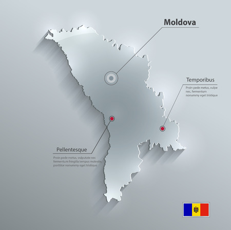 moldovan: Moldova map glass card paper 3D  Illustration