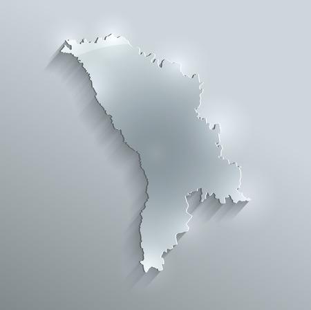 Moldova map glass card paper 3D raster