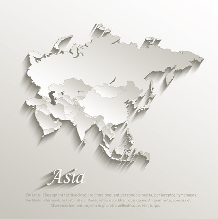 Asia political map card paper 3D natural vector individual states separate