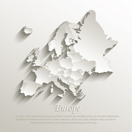 Europe political map card paper 3D natural vector individual states separate