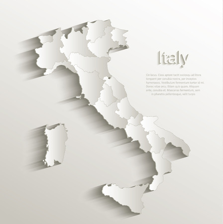 Italy political map card paper 3D natural vector individual state separate
