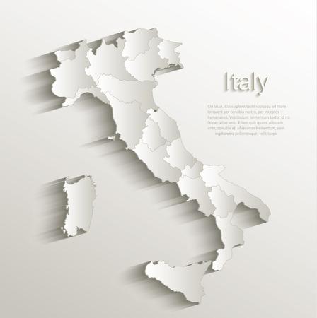 bandera italiana: Papel Italia mapa político tarjeta 3D vector estado natural individuo separado