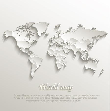 世界の政治地図カード紙 3 D 自然ベクター個々 の州別