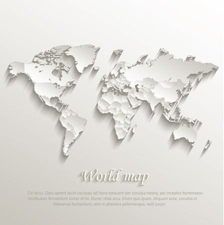World political map card paper 3D natural vector individual states separate