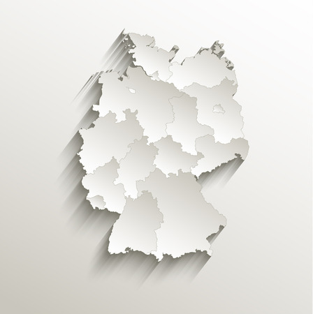 Germany political map card paper 3D natural raster individual states separate  Stok Fotoğraf