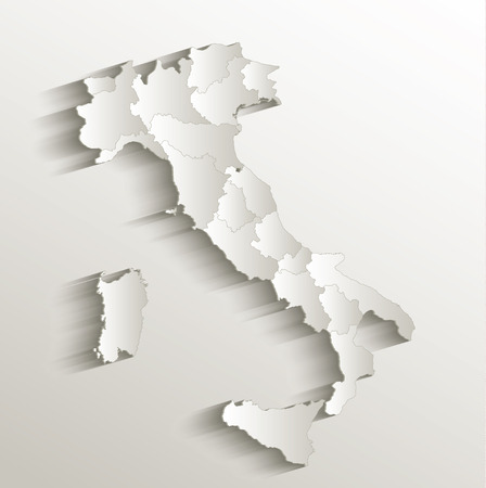 Italy political map card paper 3D natural raster individual state separate