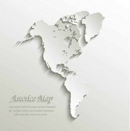 Amerika-Karte Kontinent-Karte Papier 3D-Vektor Vektorgrafik
