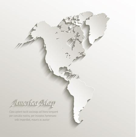 america del sur: Tarjeta de mapa continente América papel vector 3D