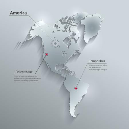 Tarjeta de cristal de la correspondencia continente vector del agua de papel 3D