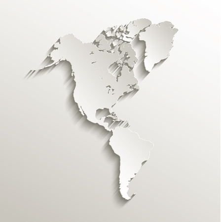 central america: America map continent card paper 3D raster