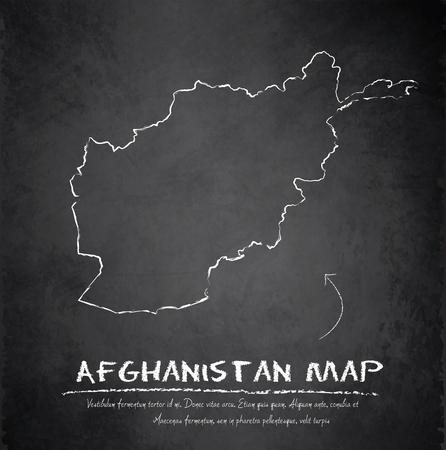 afghanistan: Afghanistan map blackboard chalkboard vector