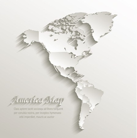 America political map card paper 3D natural vector individual states separate