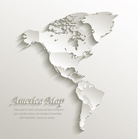 hemisphere: America political map card paper 3D natural vector individual states separate
