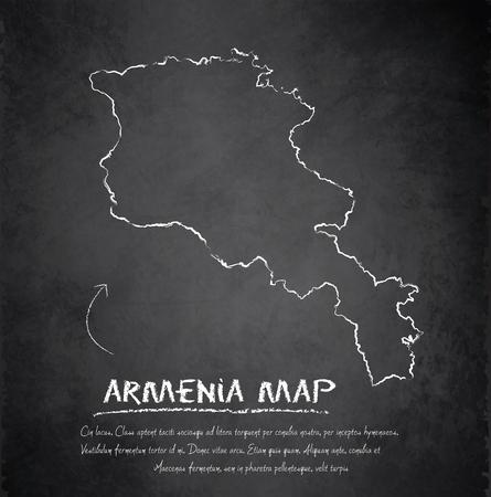 armenia: Armenia map blackboard chalkboard vector