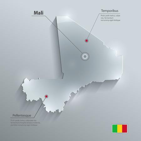 Mali map flag glass card paper 3D vektor  Vector
