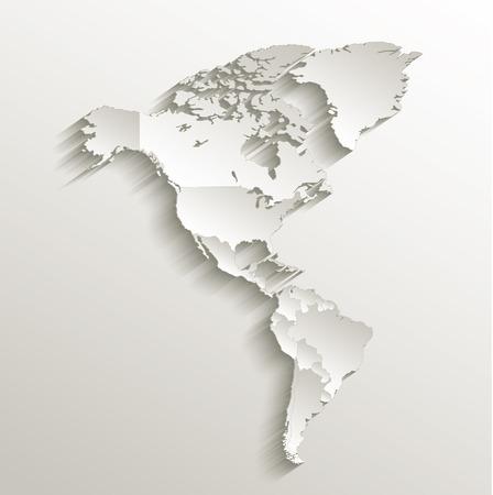 continente americano: Latina tarjeta mapa político trama de papel 3D