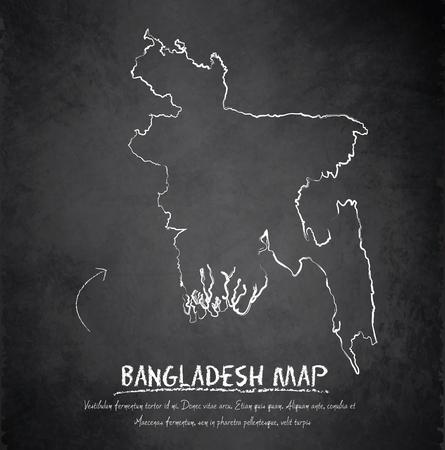 bangladesh 3d: Bangladesh map blackboard chalkboard vector