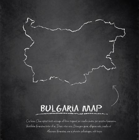bulgaria: Bulgaria map blackboard chalkboard vector Illustration