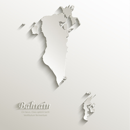 persian gulf: Bahrain map card paper 3D natural