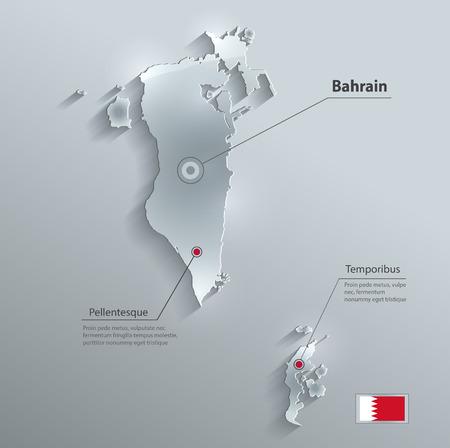 gulf: Bahrain map flag glass card paper 3D