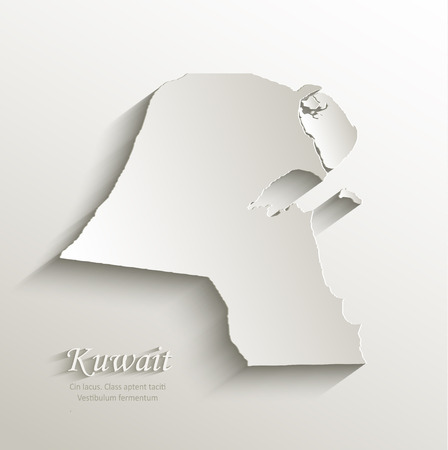 papery: Kuwait map card paper 3D natural Illustration
