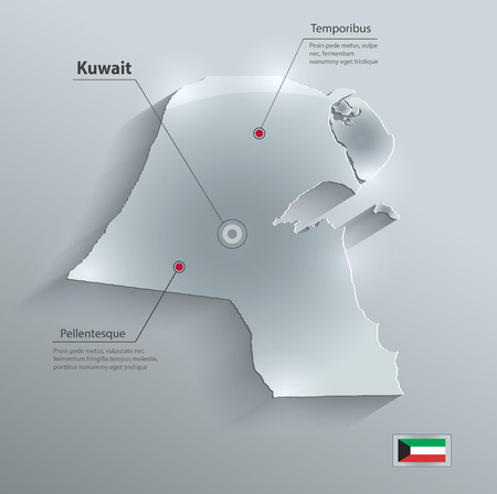 persian gulf: Kuwait map flag glass card paper 3D Illustration