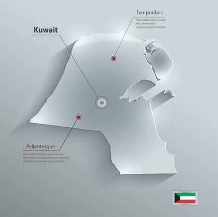 gulf: Kuwait map flag glass card paper 3D Illustration