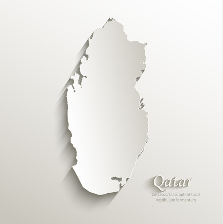 papery: Qatar map card paper 3D natural