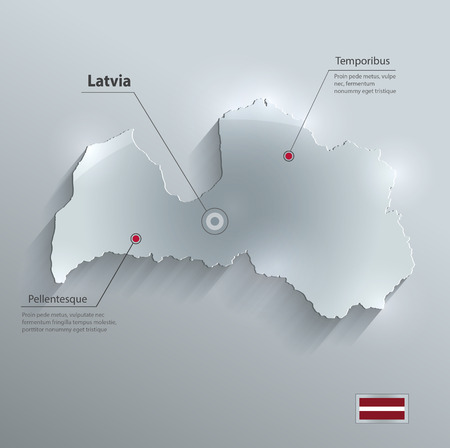 baltic sea: Latvia map glass card paper 3D vector