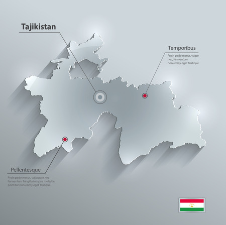 Tajikistan Map Flag Glass Card Paper D Vector Royalty Free - Tajikistan map vector