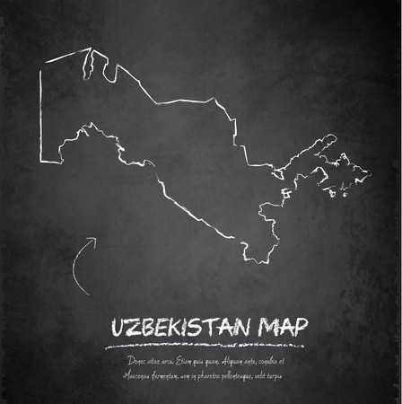oezbekistan: Oezbekistan kaart schoolbord krijtbord