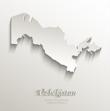 papery: Uzbekistan map card paper 3D natural